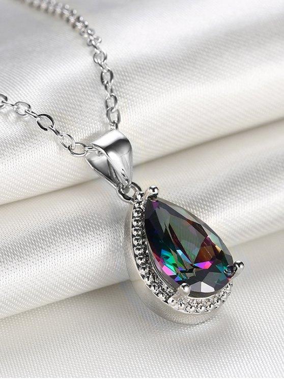 Artificial Crystal Gemstone Teardrop Pendant Necklace -   Mobile