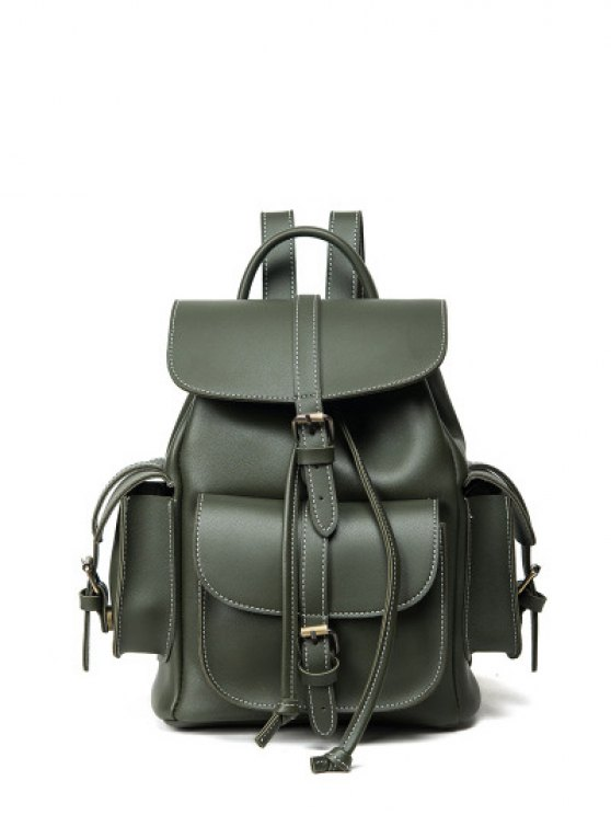 Multi Pockets Buckle Straps Backpack - GREEN  Mobile