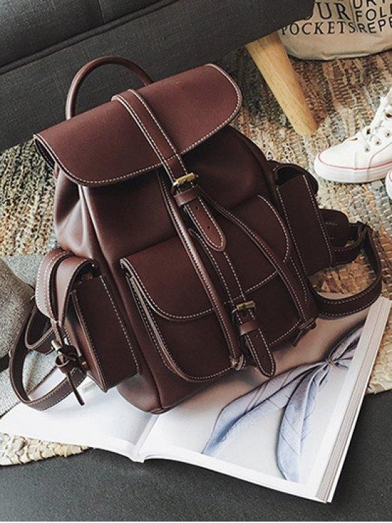 Multi Pockets Buckle Straps Backpack - DEEP BROWN  Mobile