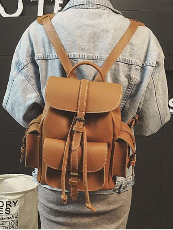 Multi Pockets Buckle Straps Backpack - BROWN  Mobile