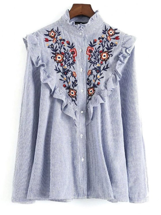 sale Embroidered Bib Frilled Shirt - BLUE AND WHITE S