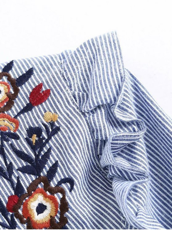 Embroidered Bib Frilled Shirt - BLUE AND WHITE M Mobile