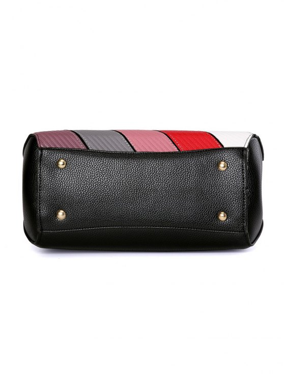 Colored Stripes PU Leather Handbag - PINK  Mobile