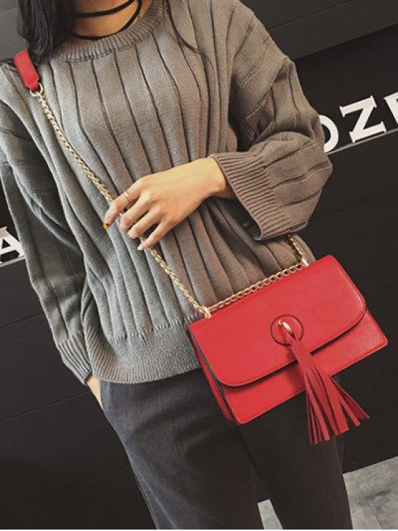 Tassel Chains Cross Body Bag - RED  Mobile