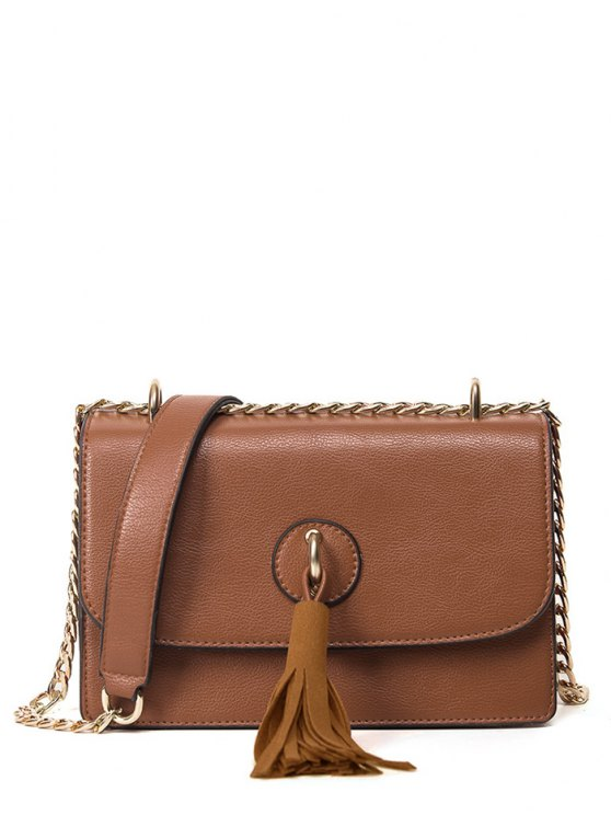 Tassel Chains Cross Body Bag - BROWN  Mobile