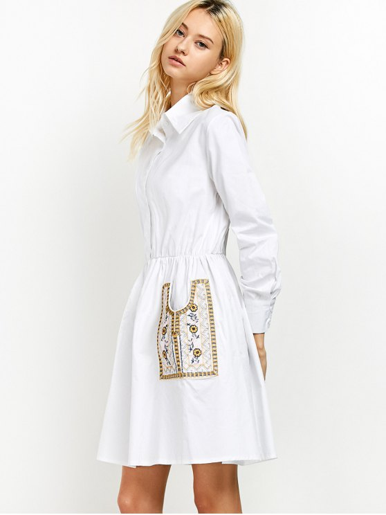 Long Sleeve Embroidered Shirt Dress wit Pocket - WHITE L Mobile