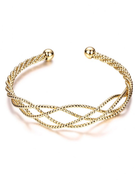 Cable Hollowed Bracelet - GOLDEN  Mobile
