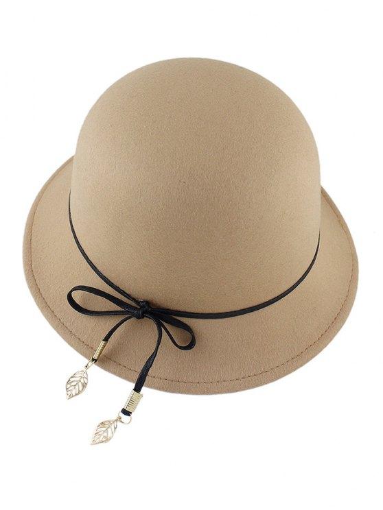 Leaf Bowknot Felt Bowler Hat - LIGHT CAMEL  Mobile