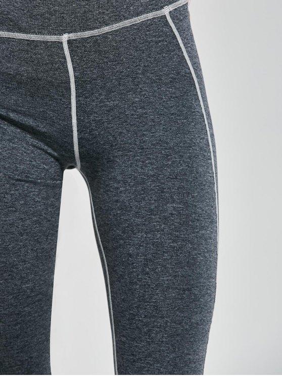 High Waist Striped Yoga Leggings - GRAY L Mobile