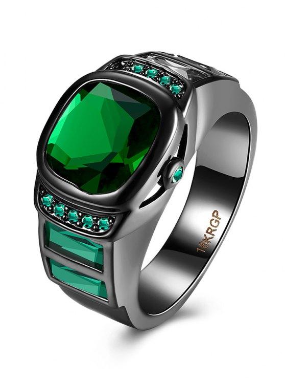 fashion Vintage Faux Gem Ring - GREEN 6