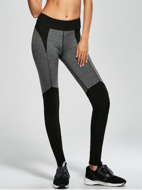 outfit Color Block Sports Running Leggings - BLACK L
