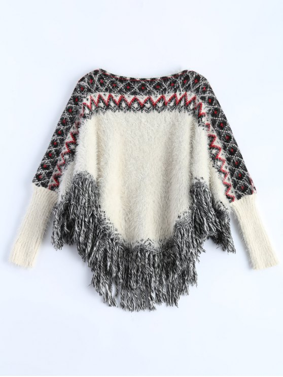 Fluffy Batwing Sweater - WHITE ONE SIZE Mobile