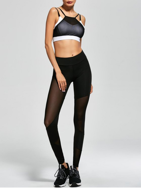 Mesh Insert Sports Bra and Sports Leggings - BLACK M Mobile