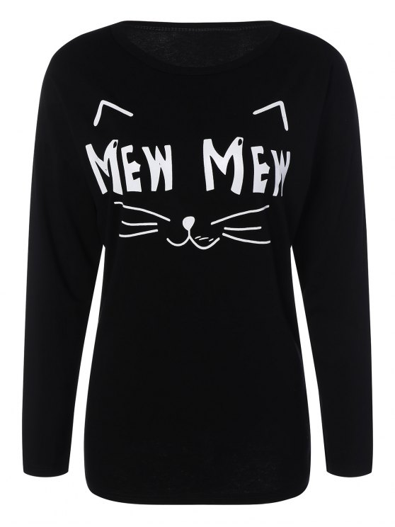 Long Sleeve Cartoon Letter T-Shirt - BLACK 2XL Mobile