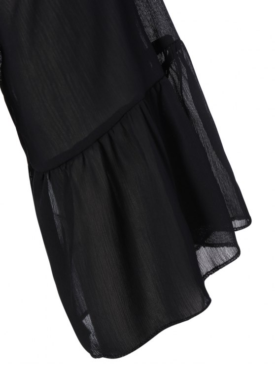 V Neck Shirred Cold Shoulder Dress - BLACK XL Mobile