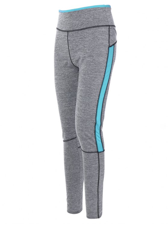 High Rise Color Block Sporty Running Leggings - AZURE XL Mobile