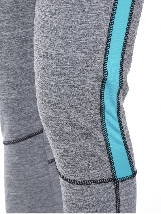 High Rise Color Block Sporty Running Leggings - AZURE L Mobile