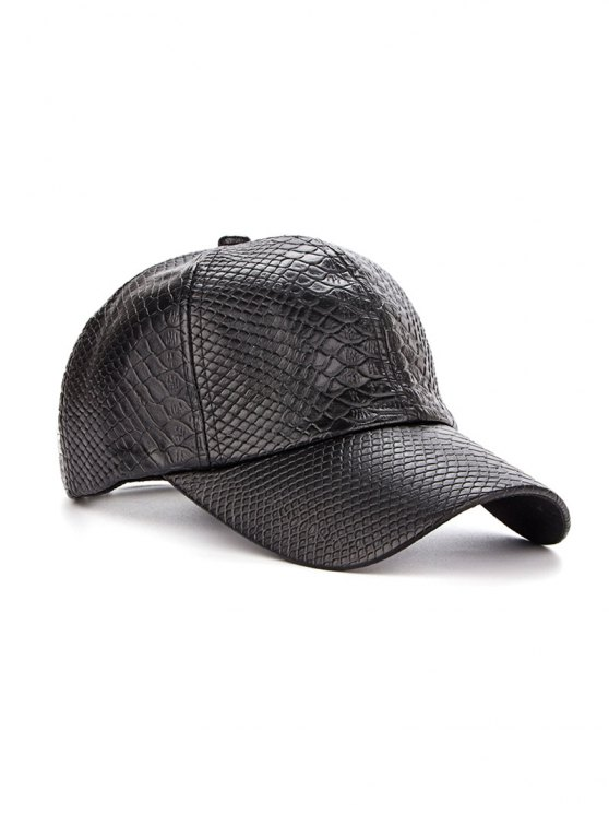 Casual Crocodile PU Leather Baseball Hat - BLACK  Mobile