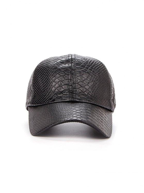 Casual Crocodile PU Leather Baseball Hat - BLACK  Mobile