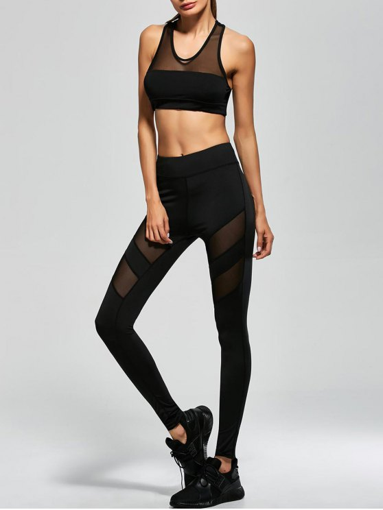 Mesh Panel Tank Top and Stretch Pants Yoga Suit - BLACK S Mobile