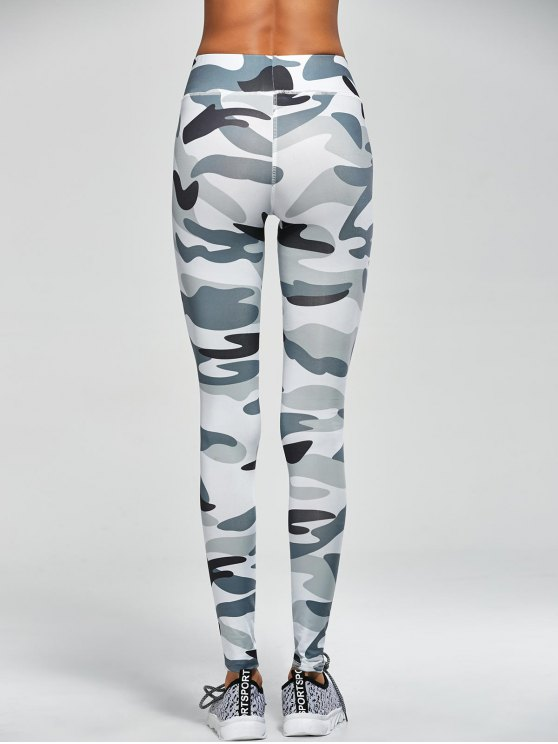 Camouflage High Waist Sport Pants - ARMY GREEN CAMOUFLAGE M Mobile