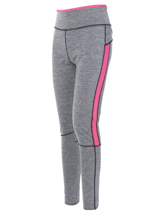 High Rise Color Block Sporty Pants - PINK S Mobile