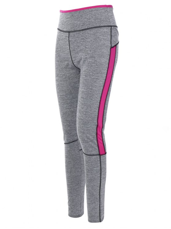 High Rise Color Block Sporty Pants - ROSE RED M Mobile