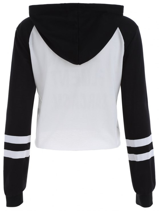 Frayed Raglan Sleeve Cropped Hoodie - WHITE AND BLACK L Mobile