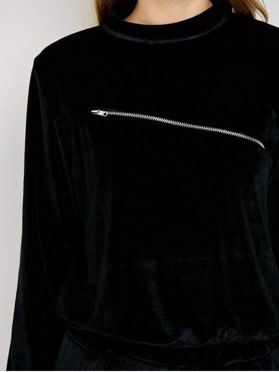 Velvet Sweatshirt and Pants with Zipper - BLACK S Mobile