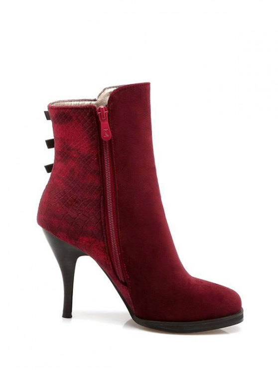 Zipper Metal Embossing Ankle Boots - BURGUNDY 37 Mobile