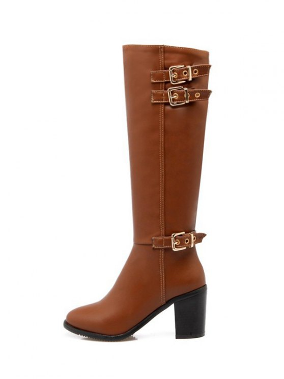 Buckles Chunky Heel Zipper Boots - BROWN 37 Mobile