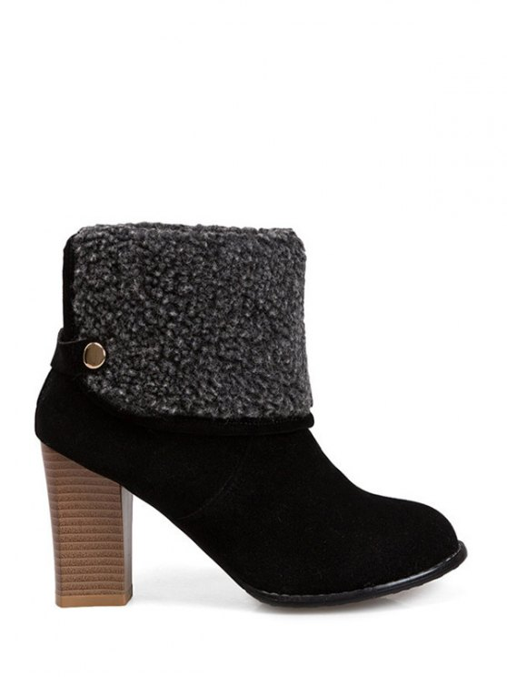 Snaps Zipper Chunky Heel Short Boots - BLACK 38 Mobile