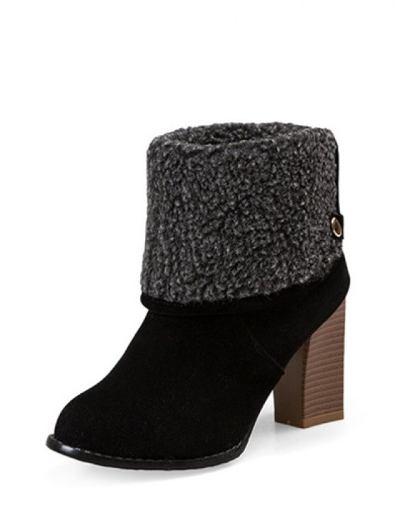 Snaps Zipper Chunky Heel Short Boots - BLACK 38 Mobile