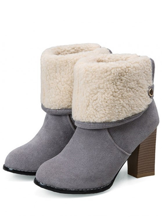 Snaps Zipper Chunky Heel Short Boots - GRAY 37 Mobile