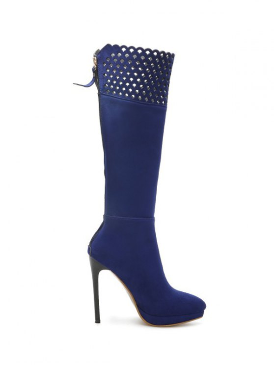 Hollow Out Zipper Platform Boots - BLUE 39 Mobile
