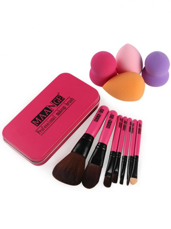 7 Pcs Makeup Brushes Set with Iron Box + Beauty Blenders -   Mobile