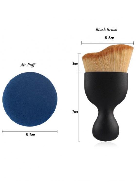 5 Pcs Eye Makeup Brushes Kit + Foundation Brush + Curved Blush Brush + Air Puffs - BLACK  Mobile