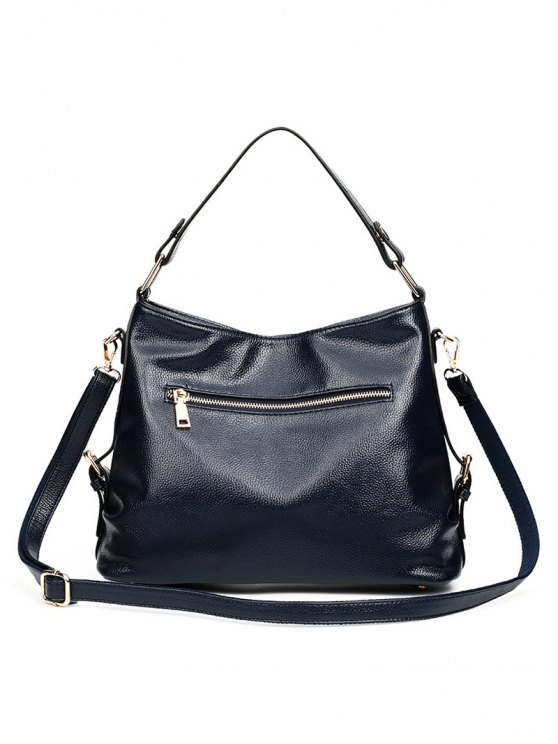 Textured Leather Metal Double Buckle Tote Bag -   Mobile
