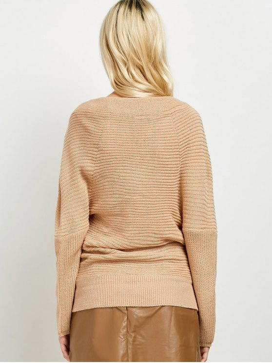 Wrap Front Sweater - KHAKI ONE SIZE Mobile