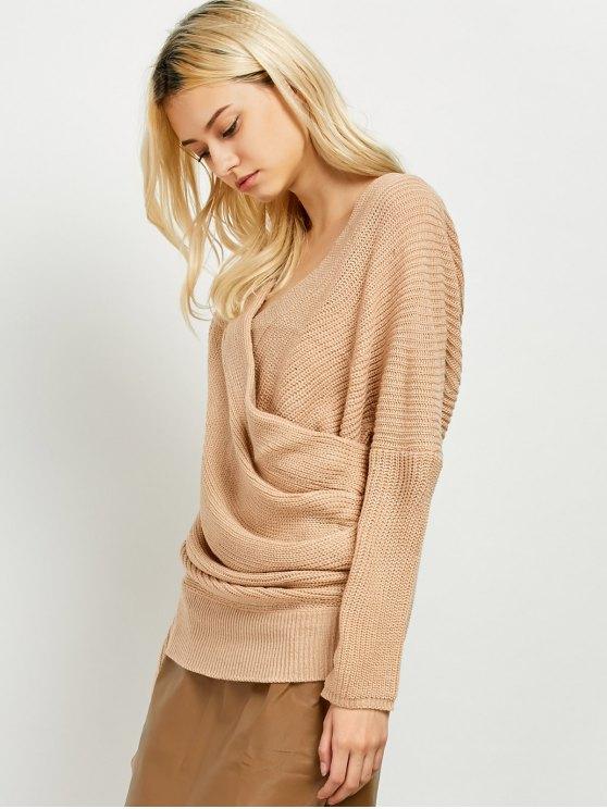 Wrap Front Sweater - KHAKI ONE SIZE Mobile