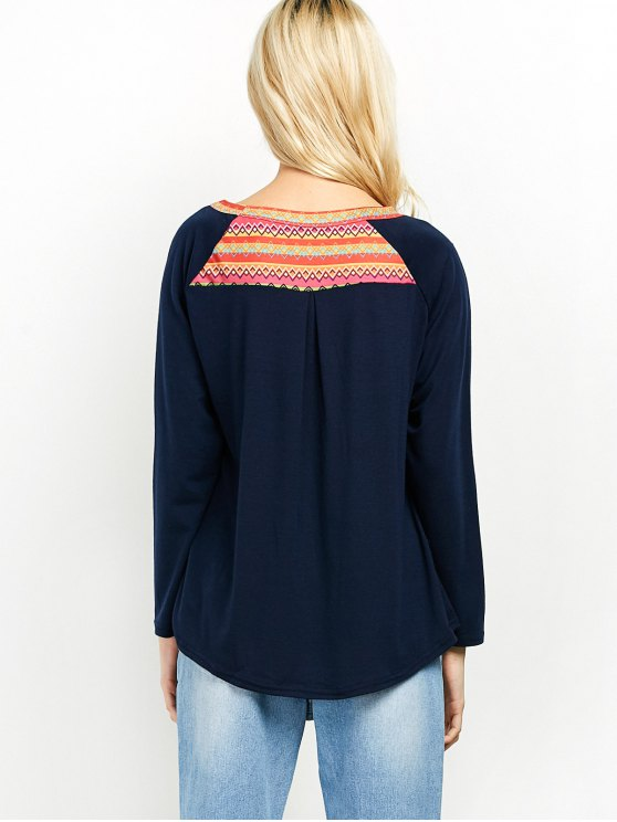 Pocket Round Neck Printed Tunic T-Shirt - CADETBLUE XL Mobile