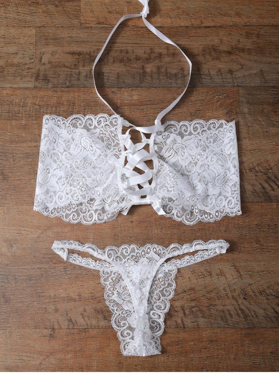 shops Unlined Lace Bandeau Bra and Panty - WHITE XL