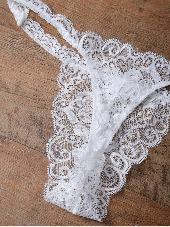Unlined Lace Bandeau Bra and Panty - WHITE S Mobile