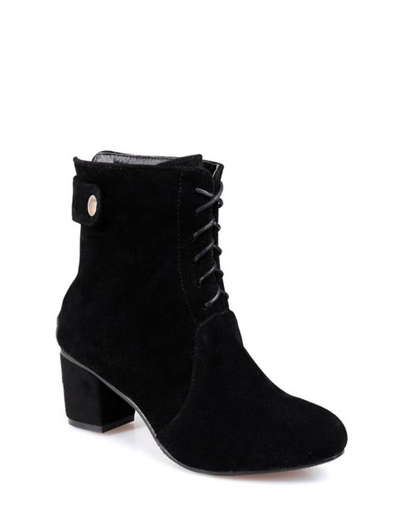 Criss-Cross Mid Heel Suede Short Boots - BLACK 39 Mobile