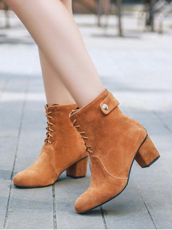 Criss-Cross Mid Heel Suede Short Boots - BROWN 38 Mobile