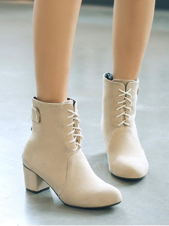 Criss-Cross Mid Heel Suede Short Boots - APRICOT 37 Mobile