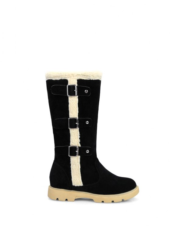 Faux Shearling Panel Mid Calf Boots - BLACK 37 Mobile
