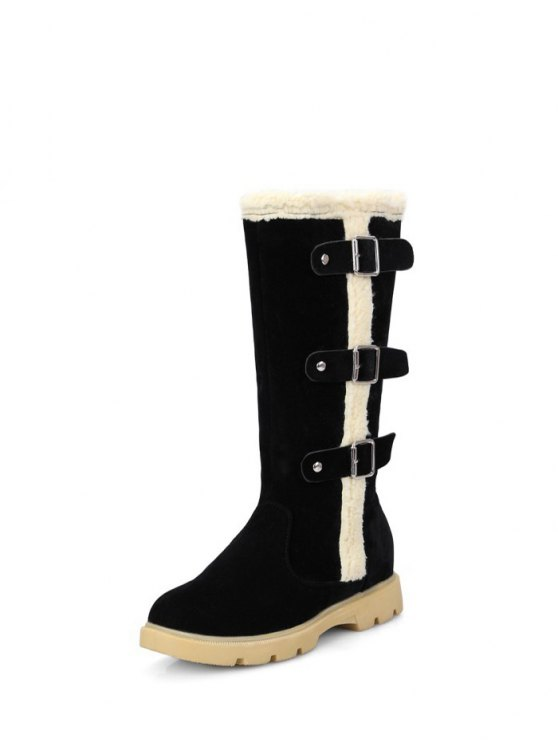 Faux Shearling Panel Mid Calf Boots - BLACK 39 Mobile
