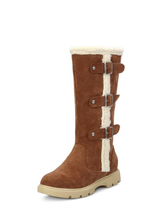 Faux Shearling Panel Mid Calf Boots - BROWN 37 Mobile