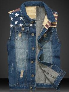 Star Print Stripe PU Leather Spliced Denim Waistcoat - Blue 2xl